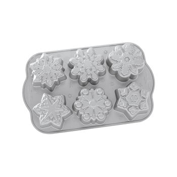 Formă pentru 6 mini prăjituri Nordic Ware Snowflakes, 700 ml bonami.ro