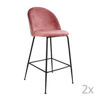 Set 2 scaune bar tapițate House Nordic Lausanne, roz-negru imagine