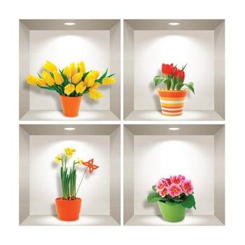 Set 4 autocolante 3D pentru perete Ambiance Prairie Flowers poza bonami.ro