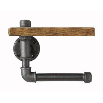 Raft de perete din lemn cu suport pentru hârtia igienică Confetti Bathmats Pipe bonami.ro
