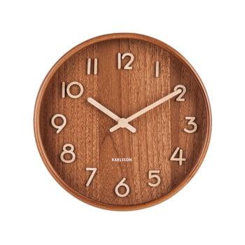 Ceas de perete din lemn de tei Karlsson Pure Small, maro, ø 22 cm bonami.ro