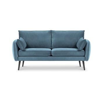 Canapea cu tapițerie din catifea Kooko Home Lento, 158 cm, albastru deschis imagine
