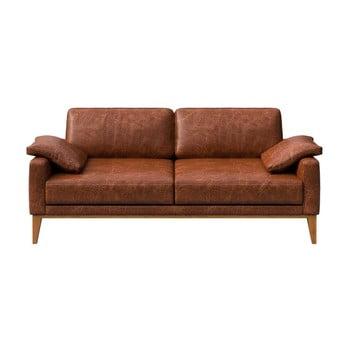 Canapea din piele cu 2 locuri MESONICA Musso, maro coniac imagine