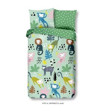 Lenjerie de pat din bumbac pentru copii Good Morning Monkeys Multi, 140 x 200 cm poza bonami.ro