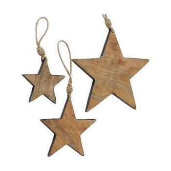 Set 3 decorațiuni suspendate pentru Crăciun din lemn de mango Boltze Paimio poza bonami.ro