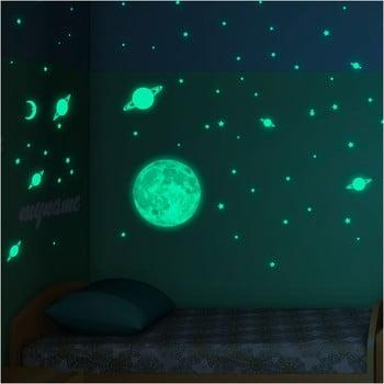 Set autocolante fosforescente de perete Ambiance Moon Stars and Planet poza bonami.ro