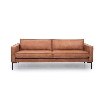 Canapea din imitație din piele Scandic Rate, maro coniac imagine