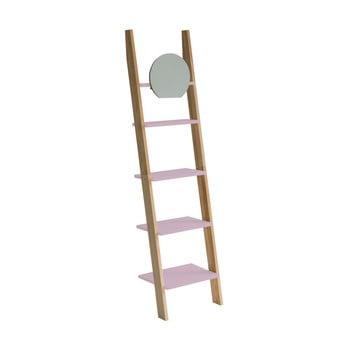 Etajeră cu suport din lemn și oglindă Ragaba Ashme Ladder, roz deschis bonami.ro