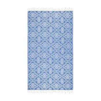 Prosop baie hammam Kate Louise Bianca, 165 x 100 cm, albastru poza bonami.ro