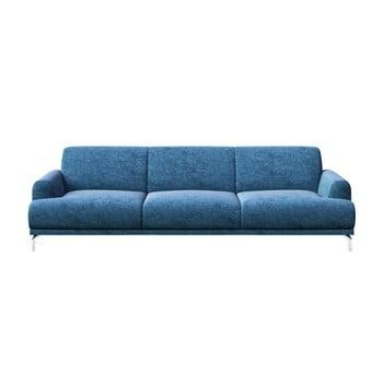 Canapea cu 3 locuri și picioare metalice MESONICA Puzo, albastru imagine