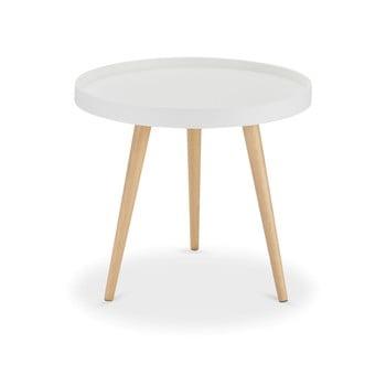 Măsuță de cafea cu picioare din lemn de fag Furnhouse Opus, Ø 50 cm, alb imagine