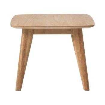 Masă auxiliară cu picioare din lemn de stejar Unique Furniture Rho,60x60cm bonami.ro
