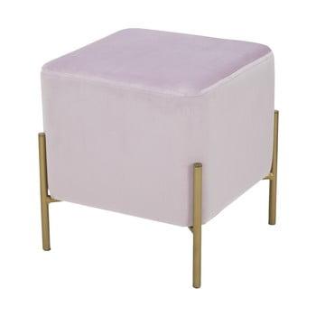 Puf cu picioare metalice aurii Mauro Ferretti Rotondo, roz pudră bonami.ro