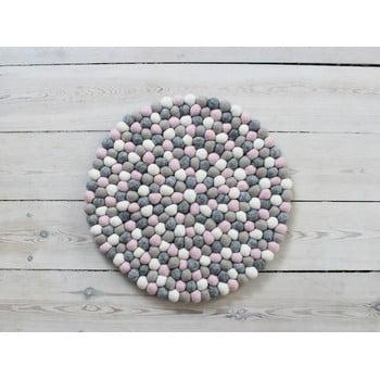 Pernă pentru scaun cu bile din lână Wooldot Ball Chair Pad, ⌀ 39 cm, gri - roz deschis bonami.ro