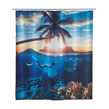 Perdea duș Wenko Paradise, 180x200cm, albastru poza bonami.ro