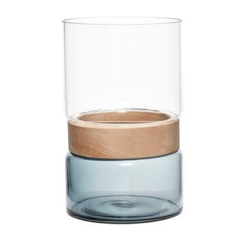 Vază din sticlă și lemn de fag Hubsch Darwin bonami.ro