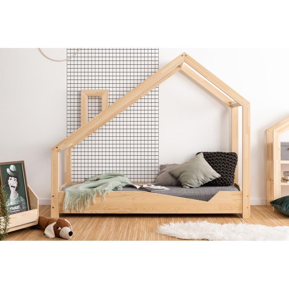 Pat din lemn de pin în formă de căsuță Adeko Luna Adra, 70 x 160 cm