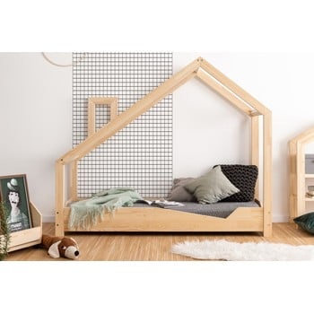 Pat din lemn de pin în formă de căsuță Adeko Luna Adra, 70 x 150 cm imagine