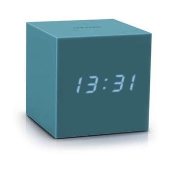 Ceas deșteptător cu LED Gingko Gravity Cube, gri - albastru bonami.ro