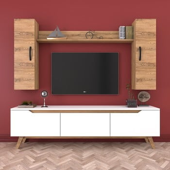 Set comodă TV, 2 dulapuri și raft de perete Wren, natural-alb poza bonami.ro