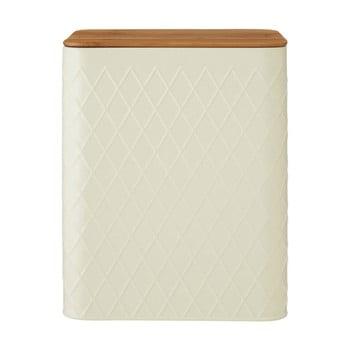 Recipient dreptunghiular cu capac din bambus Premier Housewares Rhombus, crem bonami.ro