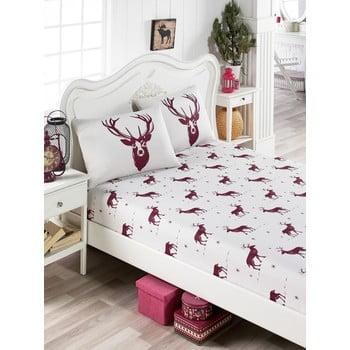 Set lenjerie și 2 fețe pernă din amestec de bumbac, pentru pat de o persoană EnLora Home Geyik Claret Red, 100 x 200 cm poza bonami.ro