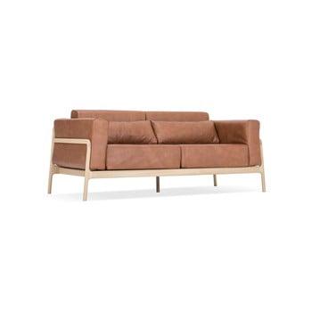 Canapea din piele bovină cu structură din lemn masiv de stejar Gazzda Fawn, maro cognac poza bonami.ro