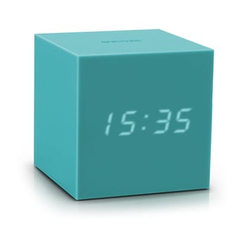 Ceas deșteptător cu LED Gingko Gravity Cube, turcoaz bonami.ro