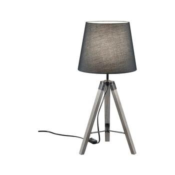 Veioză din lemn și pânză Trio Tripod, înălțime 57,5 cm, gri bonami.ro