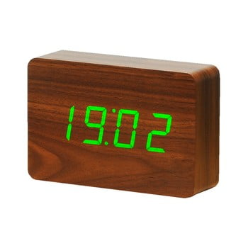 Ceas deșteptător cu LED Gingko Brick Click Clock, maro-verde bonami.ro