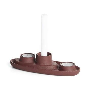 Sfeșnic EMKO Aye Aye Three Candle, vișiniu bonami.ro