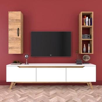 Set comodă TV, raft și dulap de perete Wren Nut, alb-natural poza bonami.ro