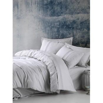 Lenjerie de pat din bumbac cu cearșaf Cotton Box Elba, 200 x 220 cm, gri deschis bonami.ro
