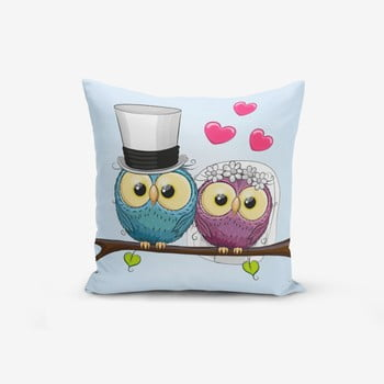 Față de pernă cu amestec din bumbac Minimalist Cushion Covers Fall In Love Owls, 45 x 45 cm poza bonami.ro
