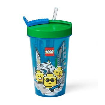 Pahar cu capac verde și pai LEGO® Iconic, 500 ml, albastru poza bonami.ro