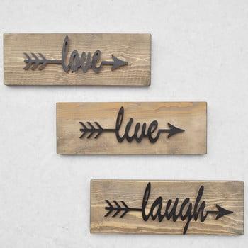 Set 3 decorațiuni din lemn pentru perete Black Love bonami.ro