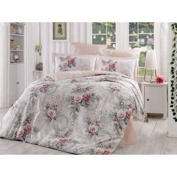 Lenjerie de pat și cearșaf din bumbac poplin pentru pat dublu Clementina Dusty Rose, 200 x 220 cm bonami.ro