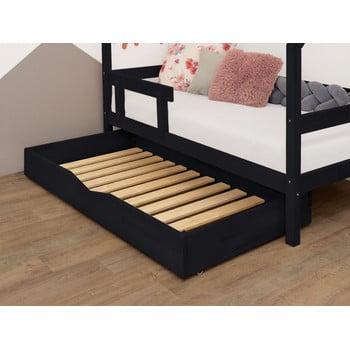 Sertar negru din lemn cu somieră pentru pat BenlemiBuddy, 70x140cm