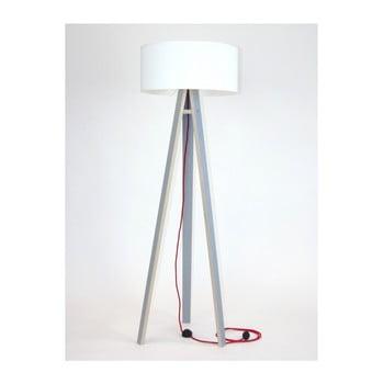 Lampadar gri cu abajur alb și cablu roșu Ragaba Wanda poza bonami.ro