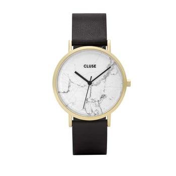 Ceas damă, curea din piele Cluse La Roche Star, negru- alb imagine