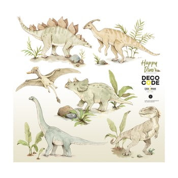 Set autocolante de perete pentru camera copiilor Dekornik Happy Dinozaur, 100 x 100 cm poza bonami.ro