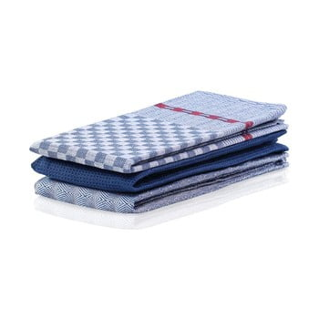 Set 3 prosoape de bucătărie din bumbac DecoKing Louie, 50 x 70 cm, albastru bonami.ro