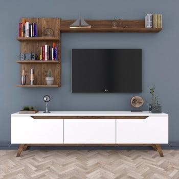 Set comodă TV și 2 rafturi de perete Rani White, alb-natural imagine