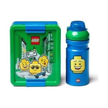 Set caserolă pentru gustări și sticlă LEGO® Iconic, verde - albastru poza bonami.ro