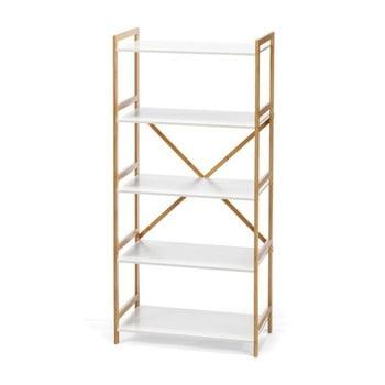 Etajeră cu 4 nivele, cu structură din bambus loomi.design Lora, alb bonami.ro
