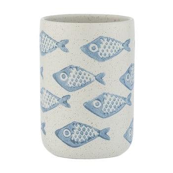 Suport ceramică pentru periuțe de dinți Wenko Aquamarin, alb - albastru bonami.ro
