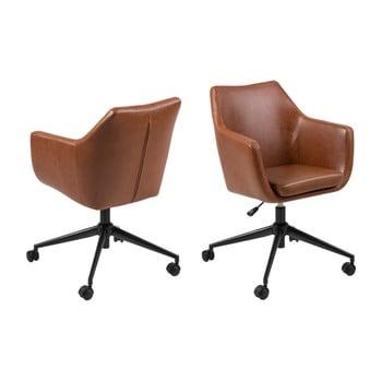 Scaun birou cu roți din piele artificială Actona Nora, maro imagine