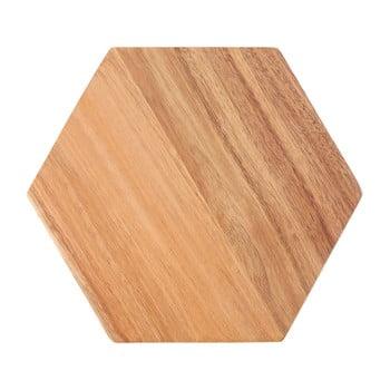 Tocător din lemn de acacia Premier Housewares Hexagon, 24 x 28 cm poza bonami.ro