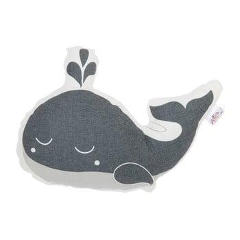 Pernă din amestec de bumbac pentru copii Mike&Co.NEWYORK Pillow Toy Whale, 35 x 24 cm, gri bonami.ro
