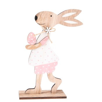 Iepure decorativ din lemn Dakls Pink Dress poza bonami.ro